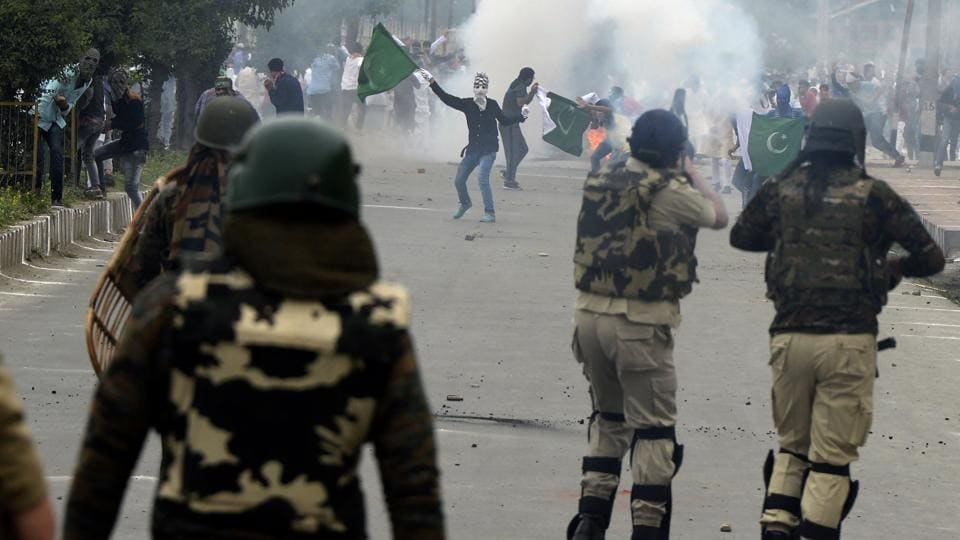 Kashmiri protesters clash with Indian security forces after the Eid prayers in downtown Srinagar recently.