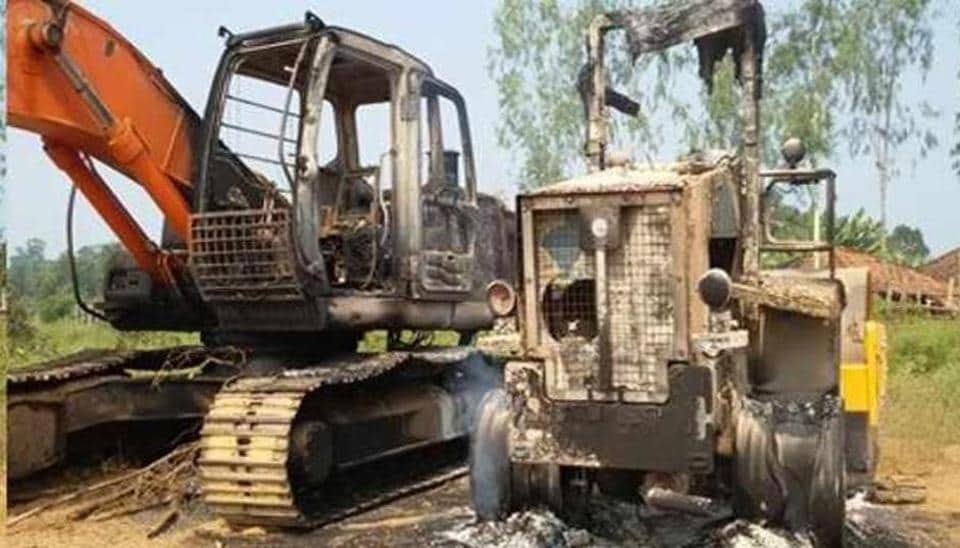 A JCB payloader was among five vehicles set on fire by angry villagers at Khojpur in Madhubani district.