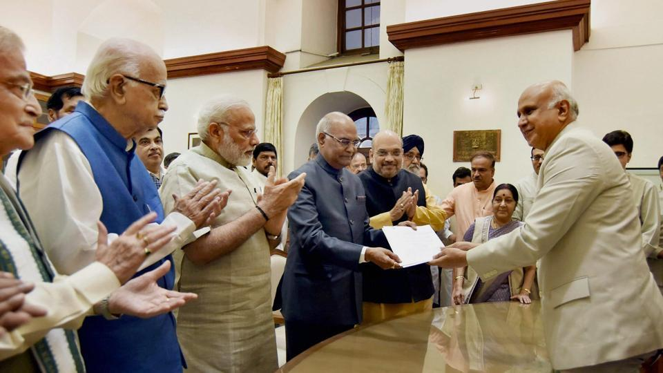 Ram Nath Kovind files nomination papers for the Presidential election, in the presence of Prime Minister Narendra Modi and other dignitaries at the Parliament on June 23, 2017. (PTI)