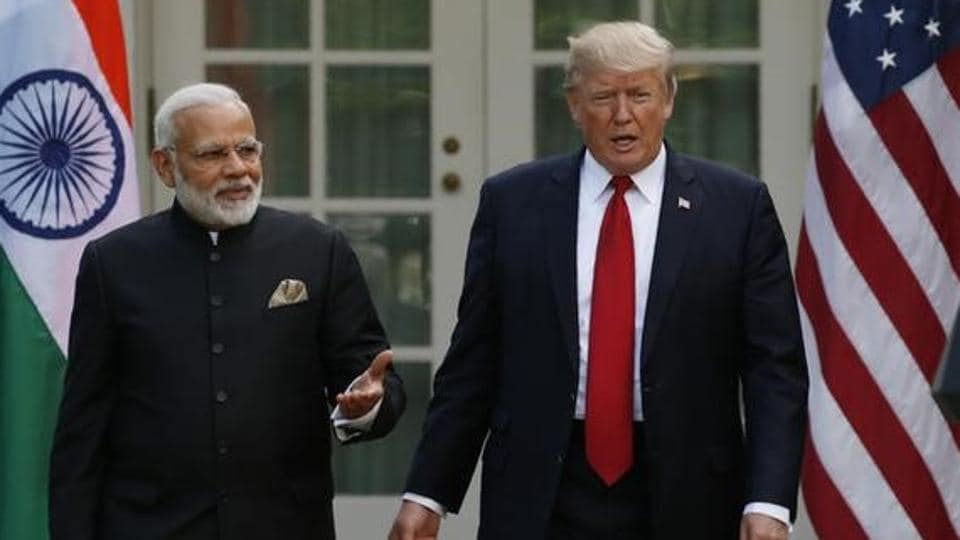 US President Donald Trump at joint news conference with Prime Minister Narendra Modi in the Rose Garden of the White House in Washington, on June 26, 2017.