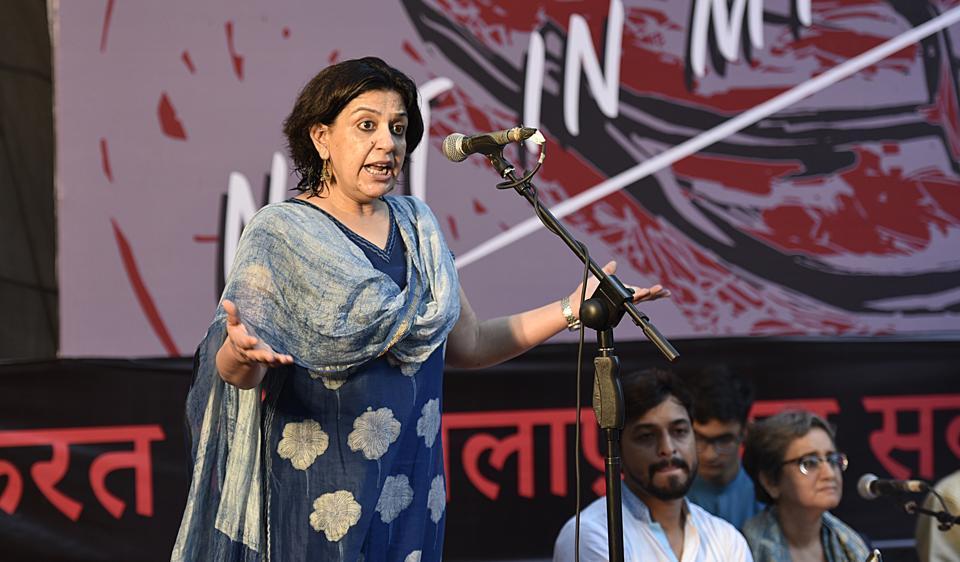 Gurgaon-based filmmaker Saba Dewan addressing protesters who gathered for #NotInMyCampaign at Jantar Mantar in New Delhi.