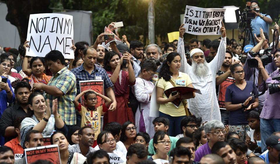 There were many first-time protesters at Jantar Mantar on Wednesday in support of  'Not in My Name' campaign against lynching of a Muslim teenager, Junaid, on June 22.