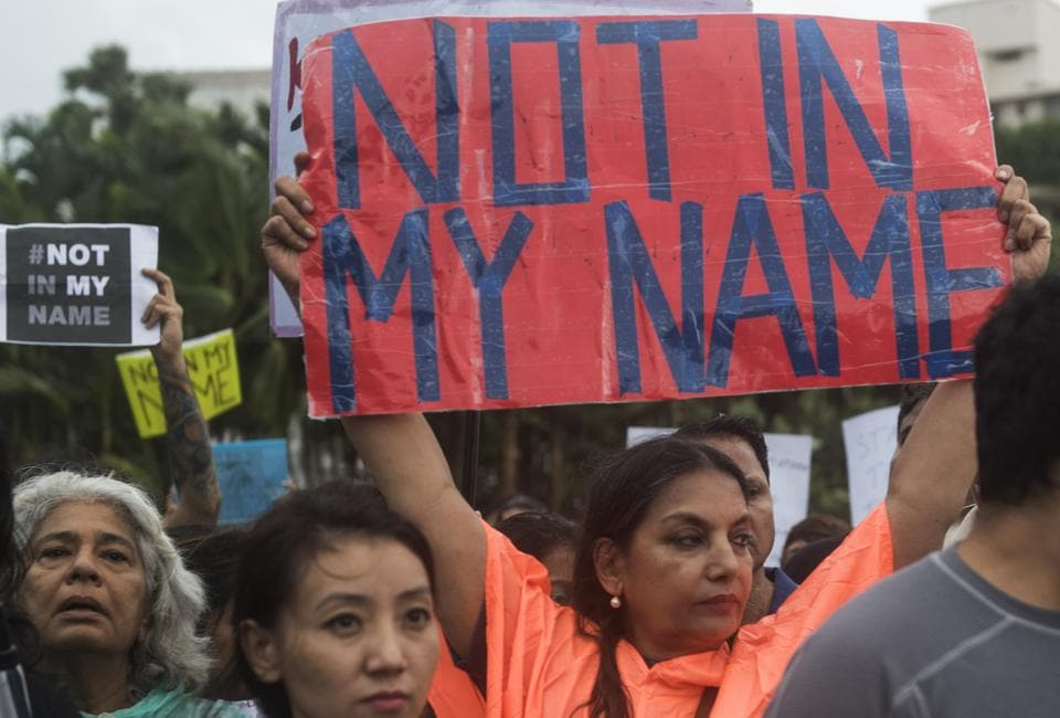 Mumbai, India - June 28, 2017:Many citizens and celebrities hit the street in support of the campaign 'Not In My Name' against lynching of a Muslim teenager Junaid, at Carter Road, Bandra in Mumbai, India, on Wednesday, June 28, 2017. (Photo by Satish Bate/Hindustan Times)