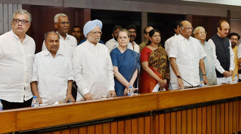 Congress president Sonia Gandhi, former PM Manmohan Singh, NCP chief Sharad Pawar, RJD chief Lalu Prasad and other leaders at a meeting in New Delhi.