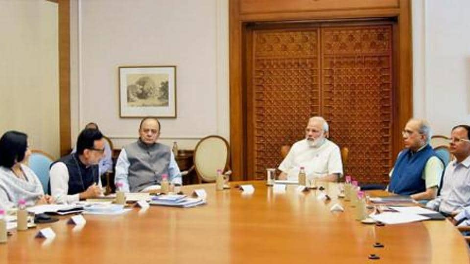 Prime Minister Narendra Modi reviewing the status of GST, which is to be implemented from July 1, in New Delhi.