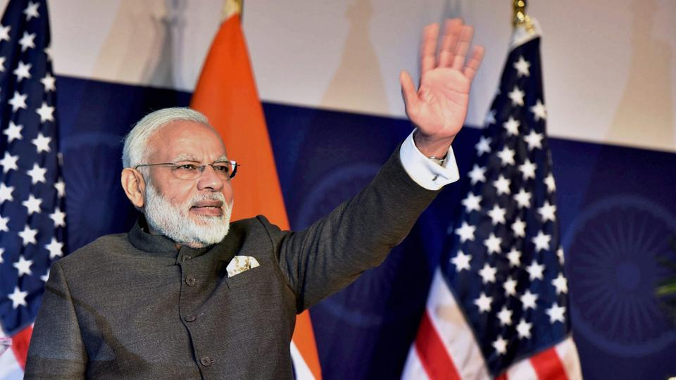 Prime Minister Narendra Modi at a community reception in Washington on Sunday.  Modi will be on a two-day visit to Israel from July 4, his second high-profile overseas tour in less than 10 days.