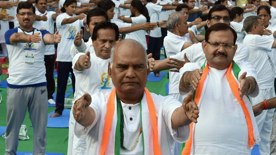 NDA presidential candidate Ram Nath Kovind participated in a yoga session, to mark the International Yoga Day 2017,  in New Delhi on June 21, 2017. (Atul Yadav/PTI)