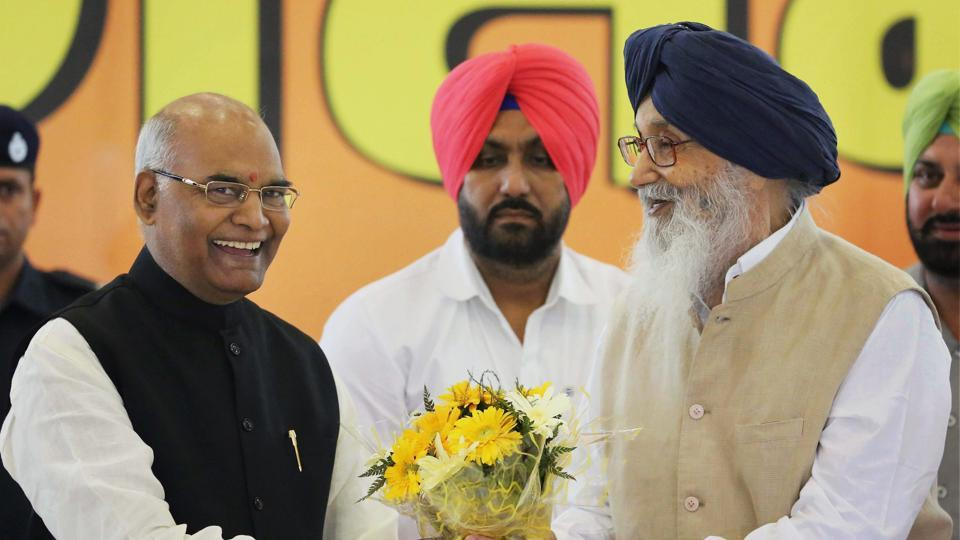 NDA presidential candidate Ram Nath Kovind being greeted by the former Punjab chief minister Parkash Singh Badal and Haryana BJP state president Subhash Barala on Thursday.