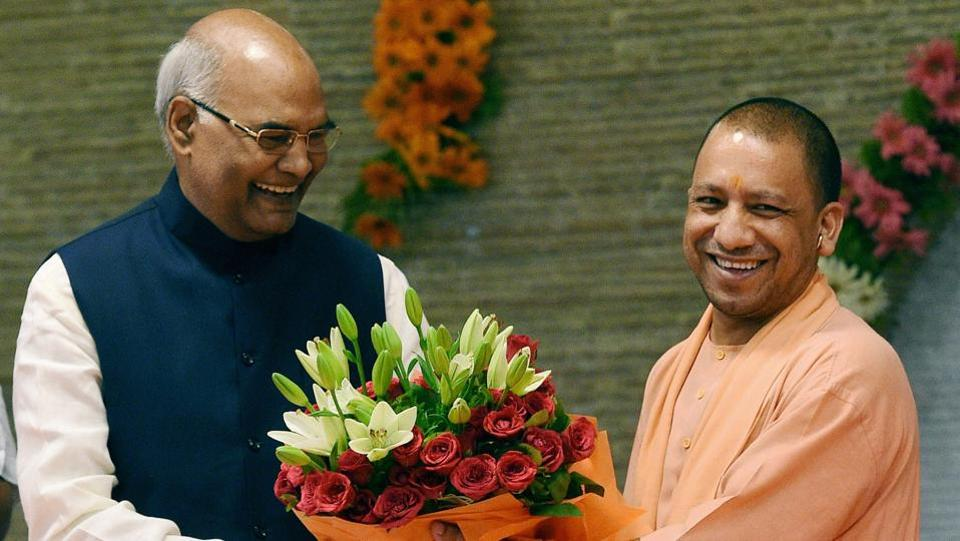 NDA presidential candidate Ram Nath Kovind meets state leaders after the announcement of his candidature. He is seen here being greeted by Uttar Pradesh chief minister Yogi Adityanath in Lucknow on  June 25, 2017. (Nand Kumar/PTI)