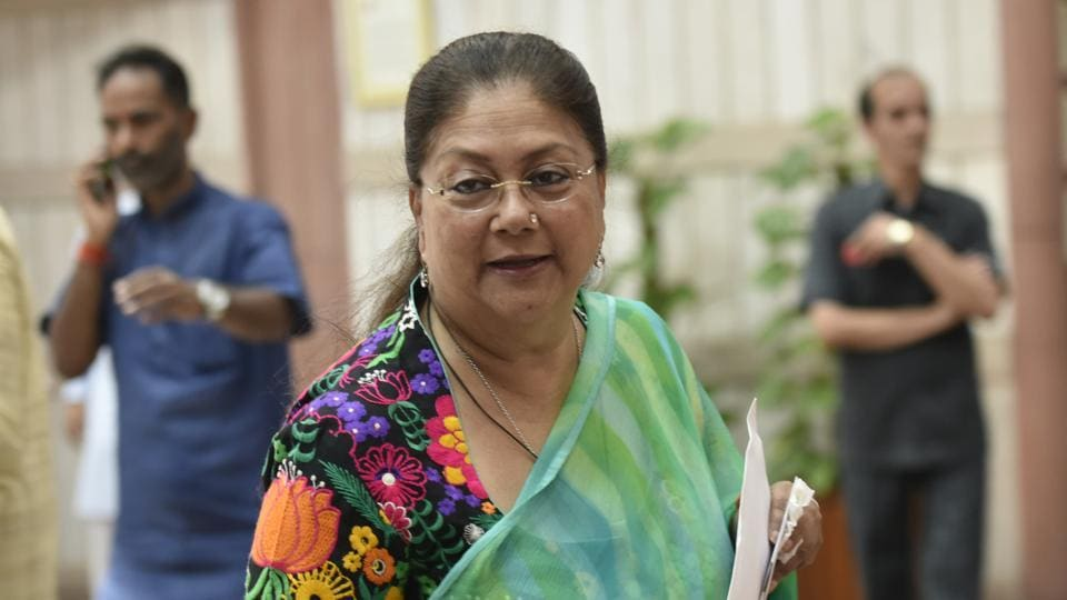 Rajasthan chief minister Vasundhara Raje Scindia in New Delhi.