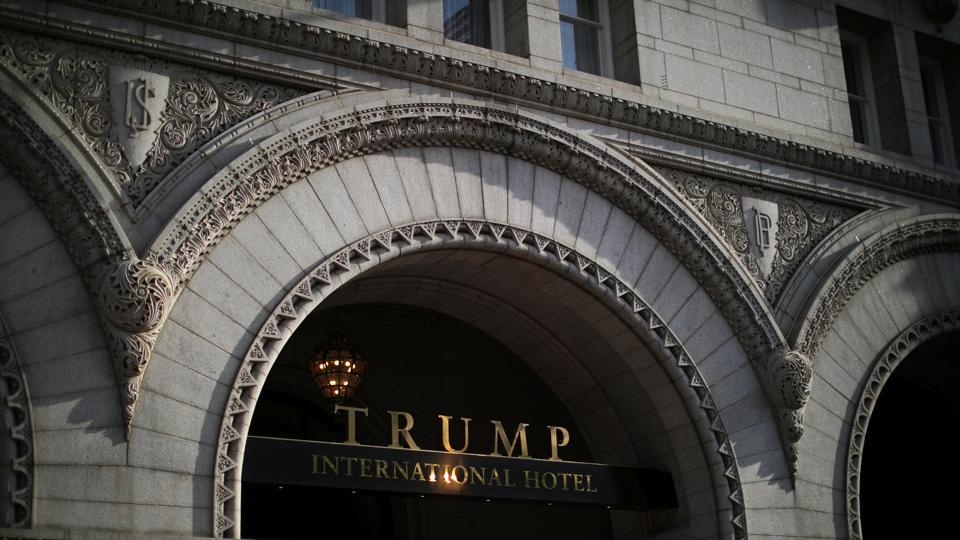 The entrance of Trump International Hotel is seen in downtown Washington, US.