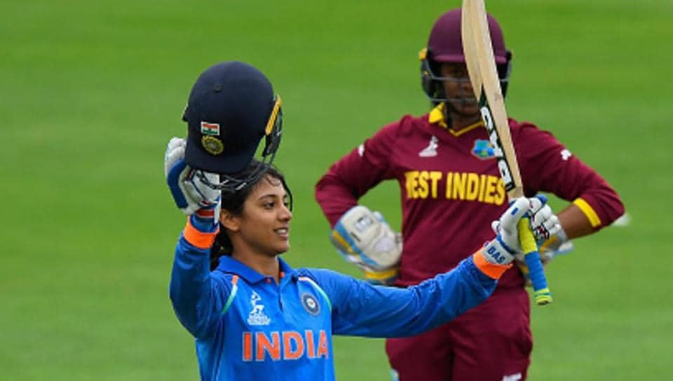 India's Smriti Mandhana celebrates her century during the ICC Women's World Cup 2017 match against the West Indies at The County Ground in Taunton.