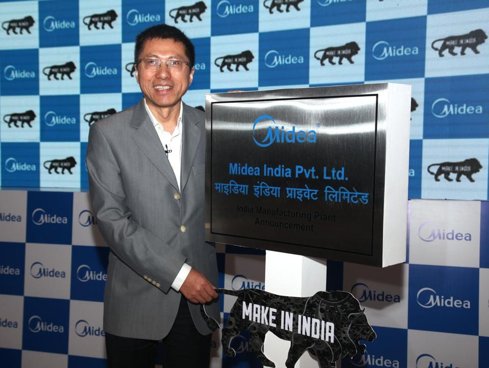 Andy Gu, vice-president of Midea Group at a press conference in New Delhi announcing investment of Rs 800 crore for a manufacturing facility near Pune.