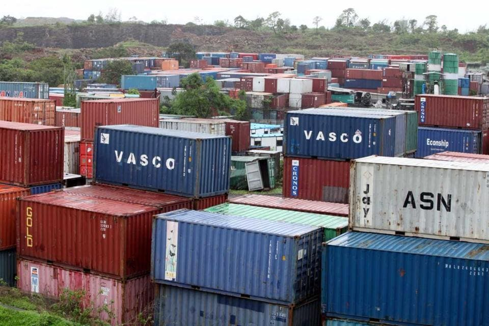 Containers piled up at JNPT on Thursday.