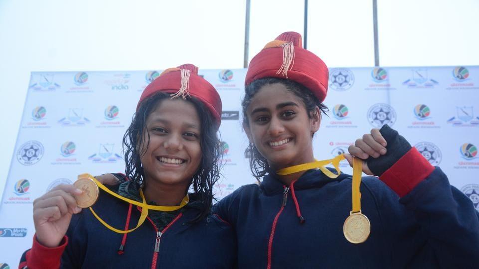 Maharashtra swimmers Vedika Amin and Sanjiti Saha photo finished to win joint gold medal along with new national record.
