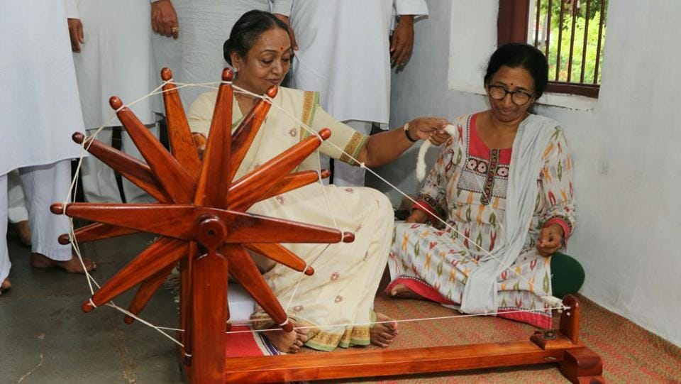 Former speaker of Lok Sabha and opposition candidate for the presidential election, Meira Kumar visits Gandhi Ashram before starting her campaign in Ahmedabad, Gujarat on June 30, 2017. (Siddharaj Solanki/HT Photo)