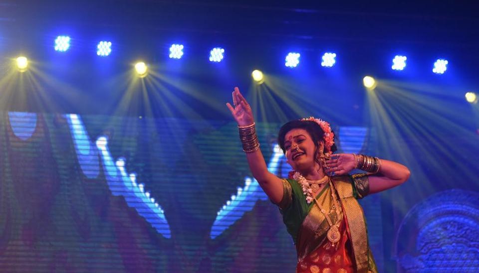 (The Lavani festival is organised as part of the golden jubilee celebrations of Bal Gandharva Rangmandir in Pune.(Pratham Gokhale/HT Photo))