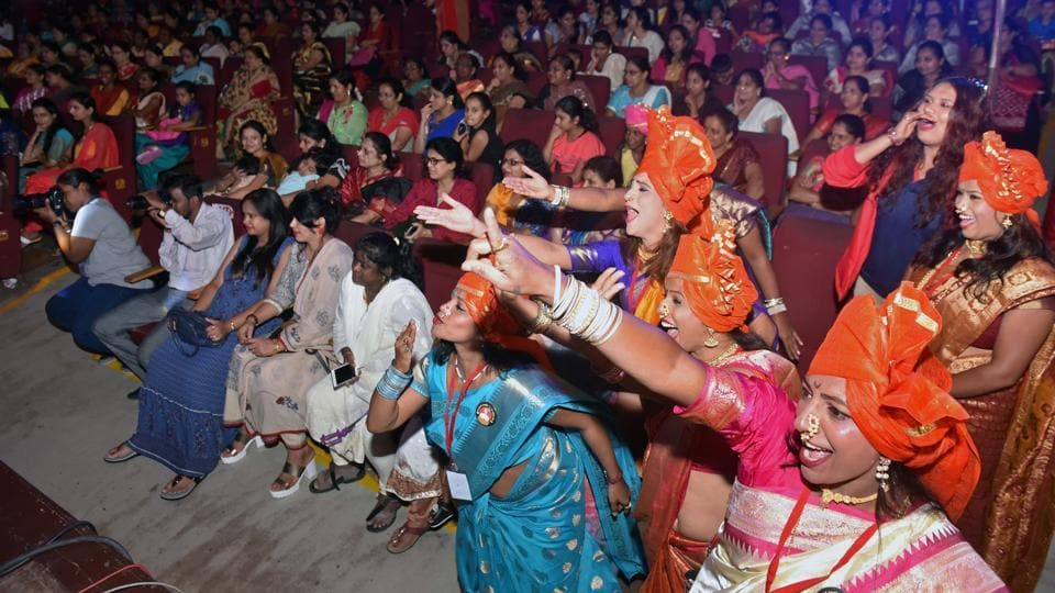 (Audience and artistes cheer during performances at the Lavani festival.  (Pratham Gokhale/HT Photo))