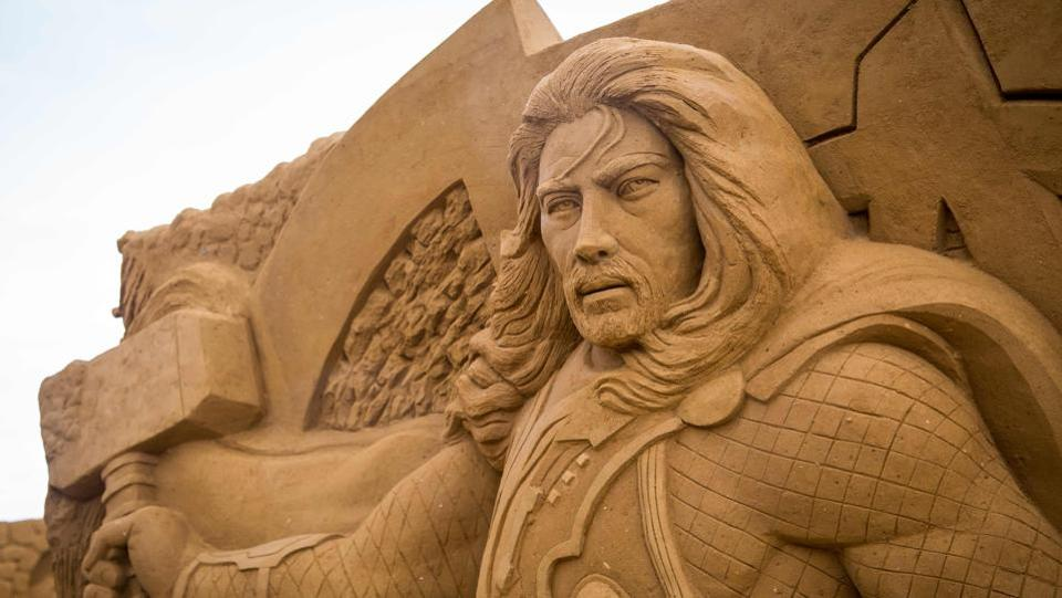 Working with 7,000 tonnes of sand, a team of 32 artists spent five weeks creating the 150 works for the Ostend Sand Sculpture Festival, which opens on Saturday and runs until September. (Aurore Belot  / AFP)