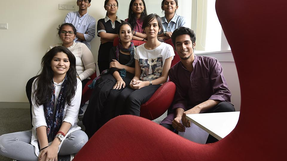 Some of HT's Campus Journalists are waiting for Delhi University's second cut-offs to wait for a college or programme of their choice. From left (sitting) Ramsha Khan, Shivam Jha, (second row, left) Malvika Singh, Sabika Syed, Sehba Mohit, (standing) Sagar Dawar, Khuisangmi Konghay, Remya Nair and Vrinda Saxena