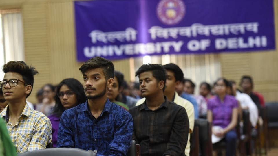 Applicants taking part in the admission processes at Delhi University in New Delhi.