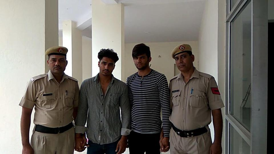 The police arrested Sachin Dyma and Tinu Nagar from Gurgaon-Faridabad road on Thursday evening.