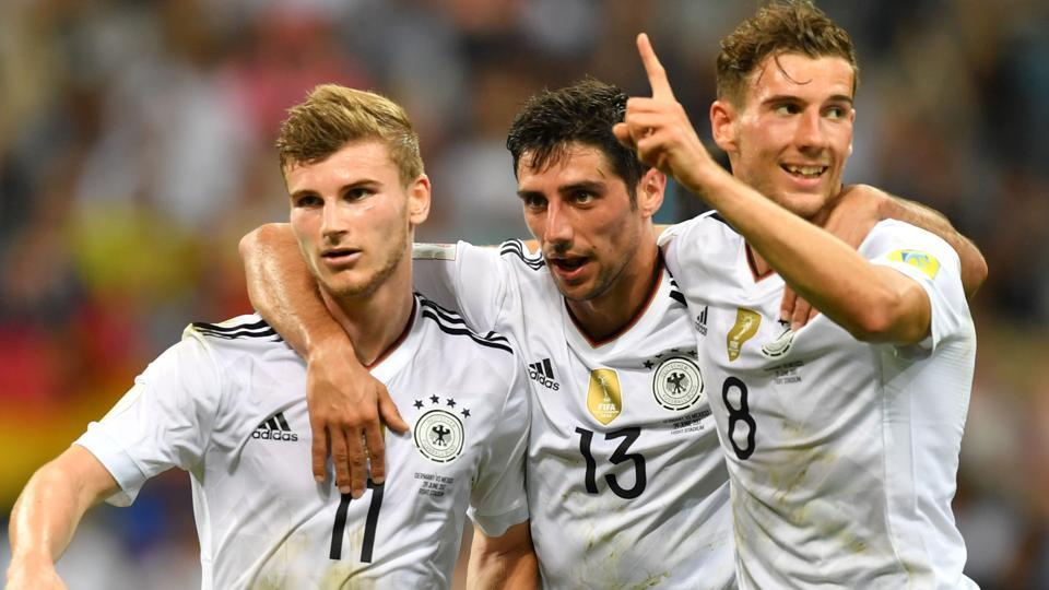 Germany forward Timo Werner (L) celebrates with Lars Stindl and Leon Goretzka after scoring during the FIFA Confederations Cup semi-final match against Mexico.
