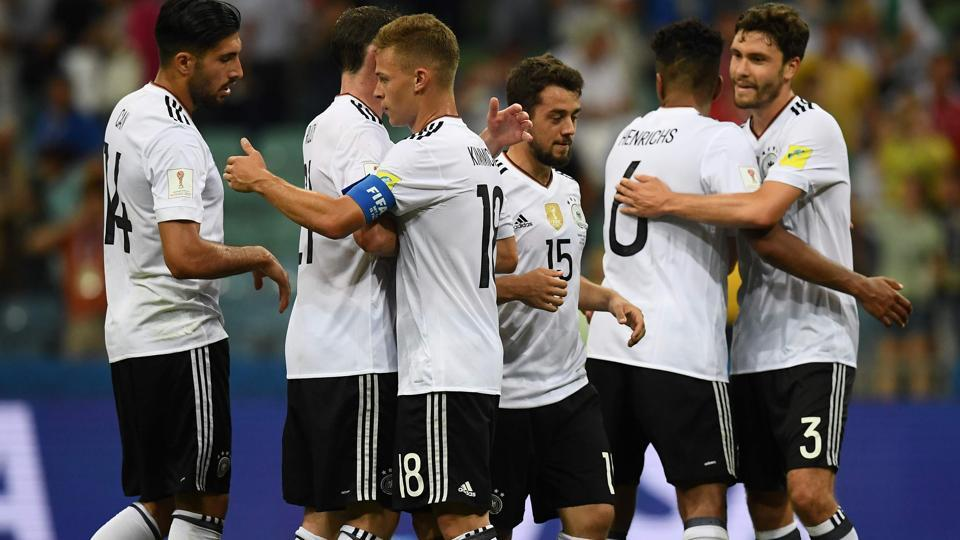 Amin Younes (C) and team mates celebrate at the end of the FIFA Confederations Cup semi-final football match between Germany and Mexico. Catch full football score of Germany vs Mexico here.