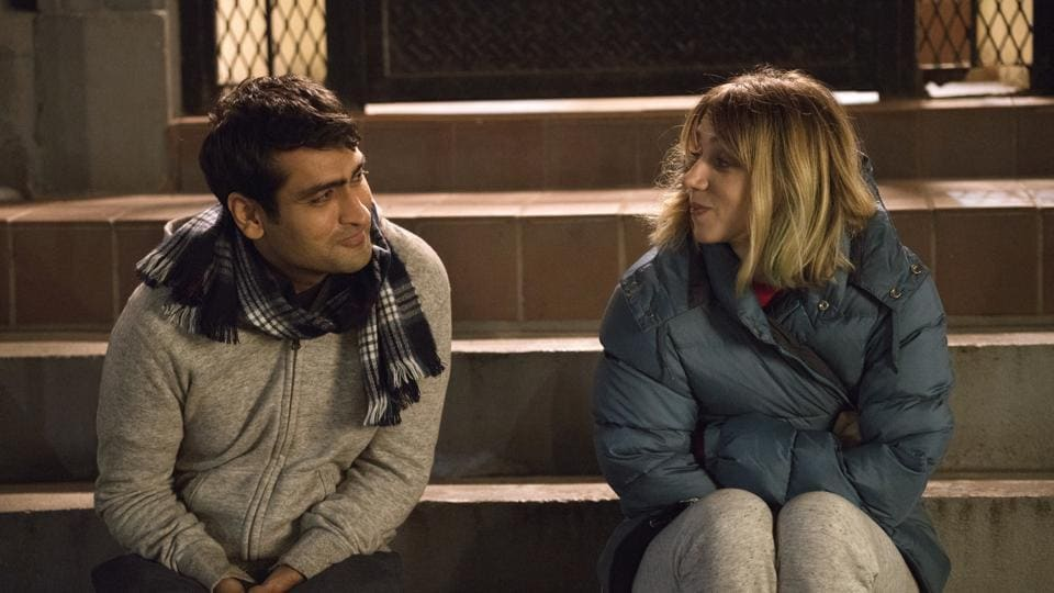 Kumail Nanjiani, left, and Zoe Kazan appear in a scene from,The Big Sick. The film, written by Nanjiani and his wife Emily Gordon, chronicles their relationship from the start, when the Pakistan-born Nanjiani was trying to make it as a stand-up in Chicago and Gordon was in a coma.