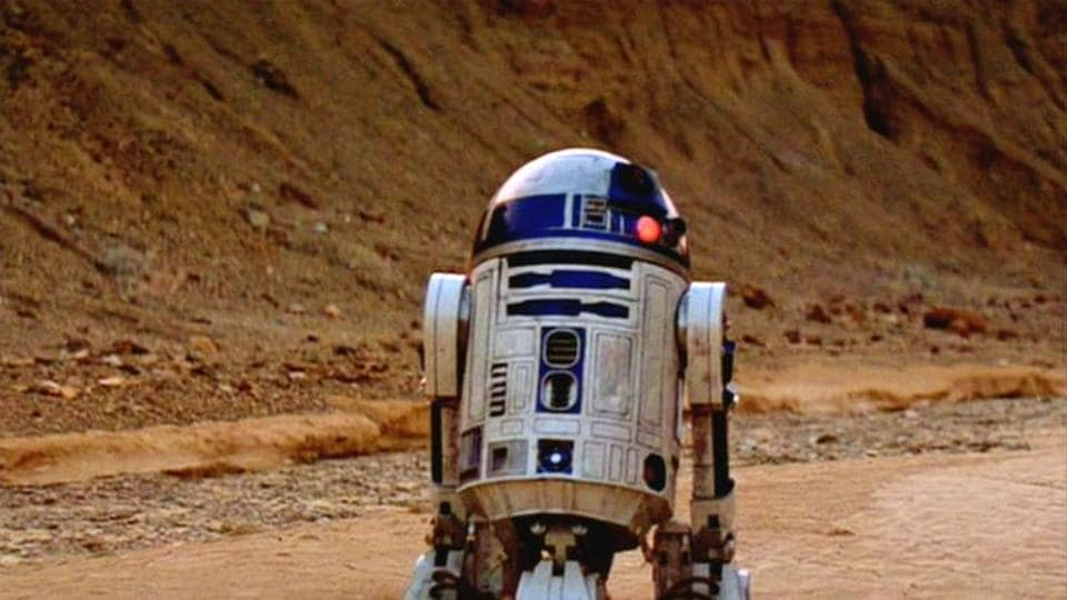 Luke Skywalker's droid sidekick was put together from parts used in the filming of the original 1977-1983 trilogy and two of the 1999-2005 prequel films.