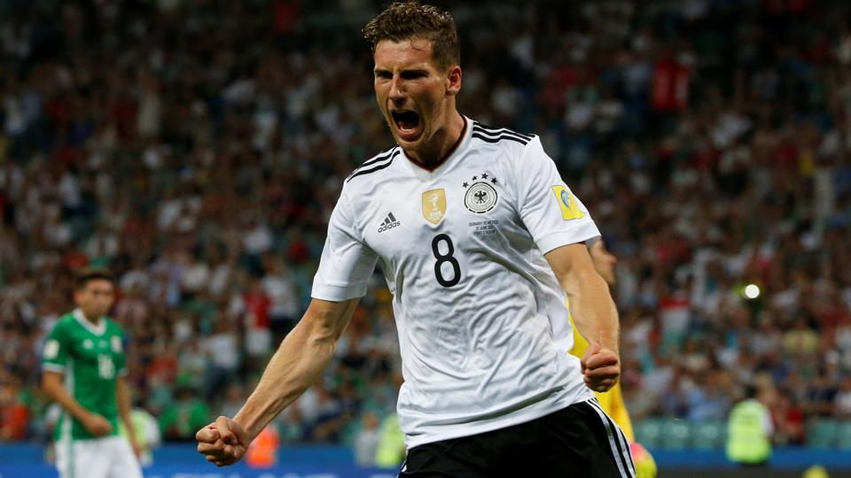 Germany's Leon Goretzka celebrates after scoring a goal against Russia in the FIFAConfederations Cup 2017.
