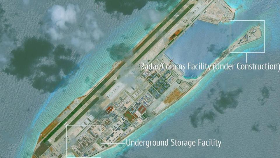 Construction is shown on Fiery Cross Reef, in the Spratly Islands, the disputed South China Sea in this June 16, 2017 satellite image released by CSIS Asia Maritime Transparency Initiative at the Center for Strategic and International Studies (CSIS).