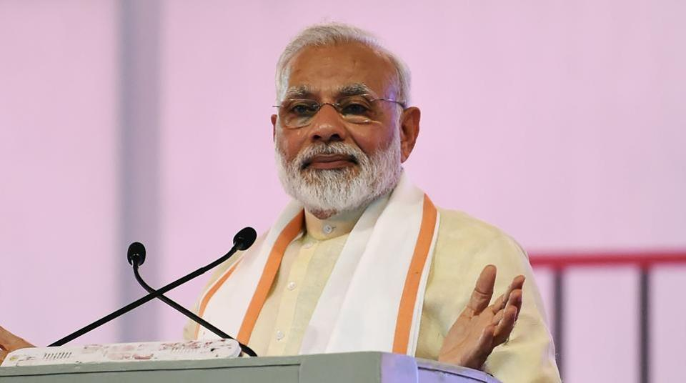 Prime Minister Narendra Modi gives a speech during an event marking the 100th anniversary of Sabarmati Ashram and the 150th birth anniversary of poet and philosopher Shrimad Rajchandraji, Ahmedabad, June 29, 2017.  Modi condemned the murder in the name of protecting cows, after a string of killings targeting Muslims and other minorities