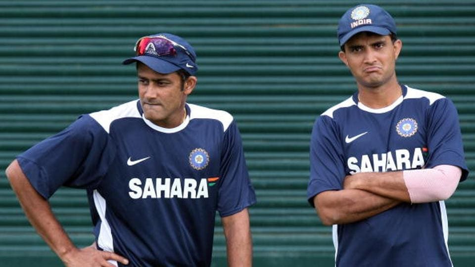 Anil Kumble (L) was appointed Indian Cricket Team coach after recommendation from BCCI's Cricket Advisory Committee, which included Sourav Ganguly.
