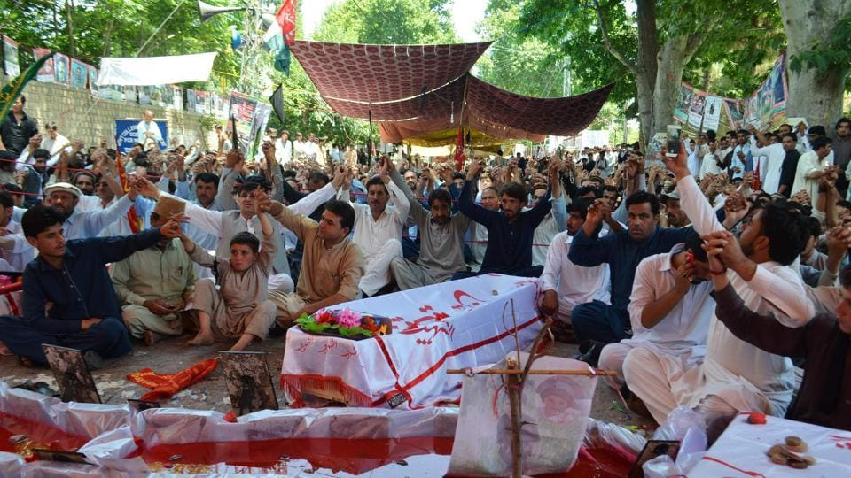 Pakistani Shia Muslims stage a protest against the killing of their community members after June 24 twin bombing blast at a market in Parachinar, capital of Kurram tribal district, on June 30, 2017. Shias in Pakistan's restive northwest protested Monday as the death toll from twin blasts three days earlier rose to 69, marking a grisly Eid for the town worst hit by militancy so far in 2017.
