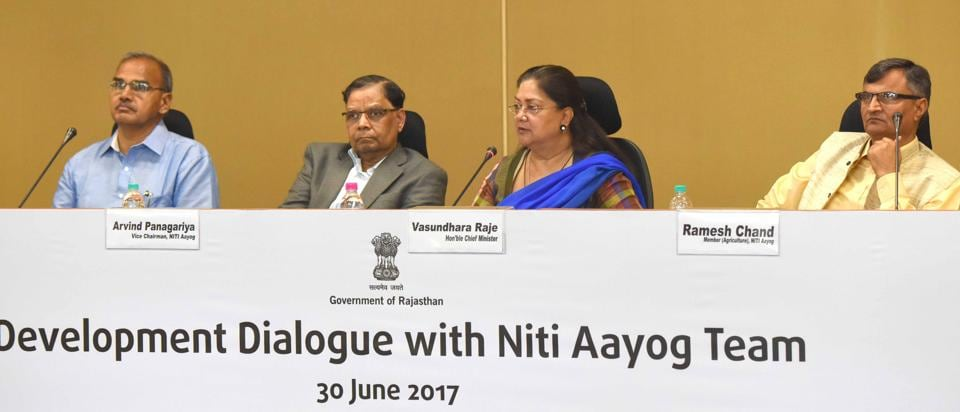 Rajasthan chief minister Vasundhara Raje and Niti Aayog vice-chairman Arvind Panagariya (2nd from left) in Jaipur on Friday.