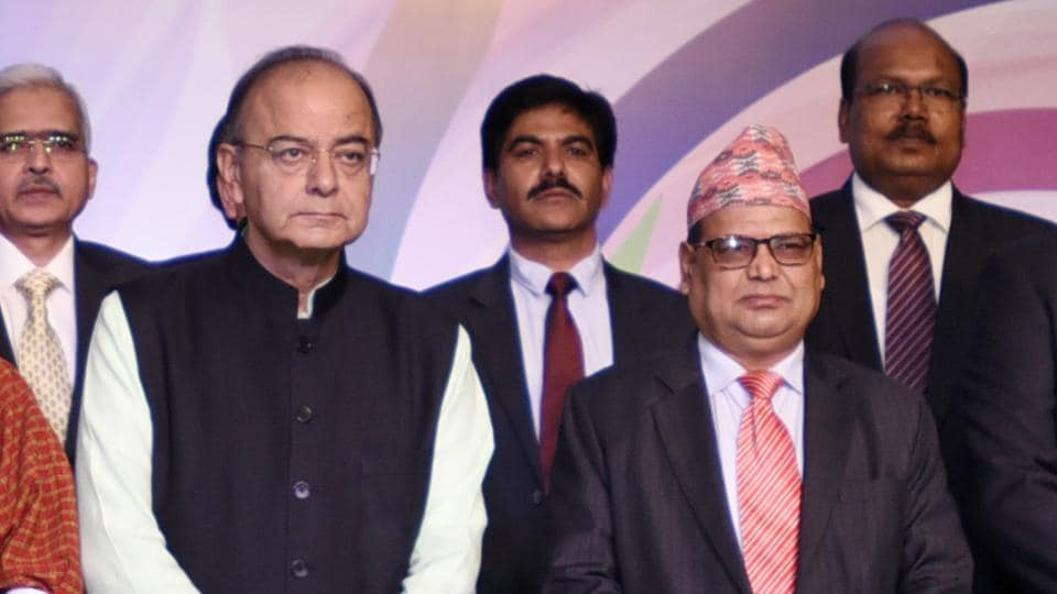 Finance minister Arun Jaitley with deputy prime minister of Nepal, Krishna Bahadur Mahara at the South Asia Sub regional Economic Cooperation meet in New Delhi.