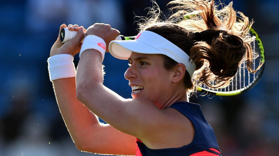 Johanna Konta plays a shot against Angelique Kerber during their women's singles quarter-finals match at the ATP Aegon International tennis tournament in Eastbourne.