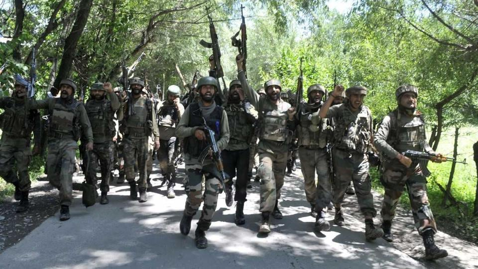 Security forces after the encounter in Anantnag ended. Two civilians were killed in the crossfire.