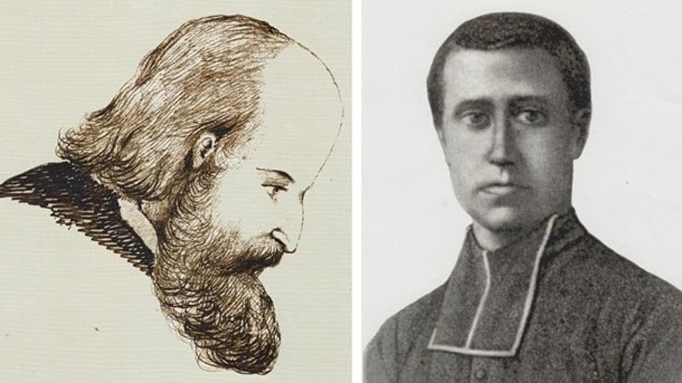 Sketches of Nicholas-Michel Krick (left) and Augustin-Etienne Bourry (right) who were murdered in Arunachal Pradesh in 1854