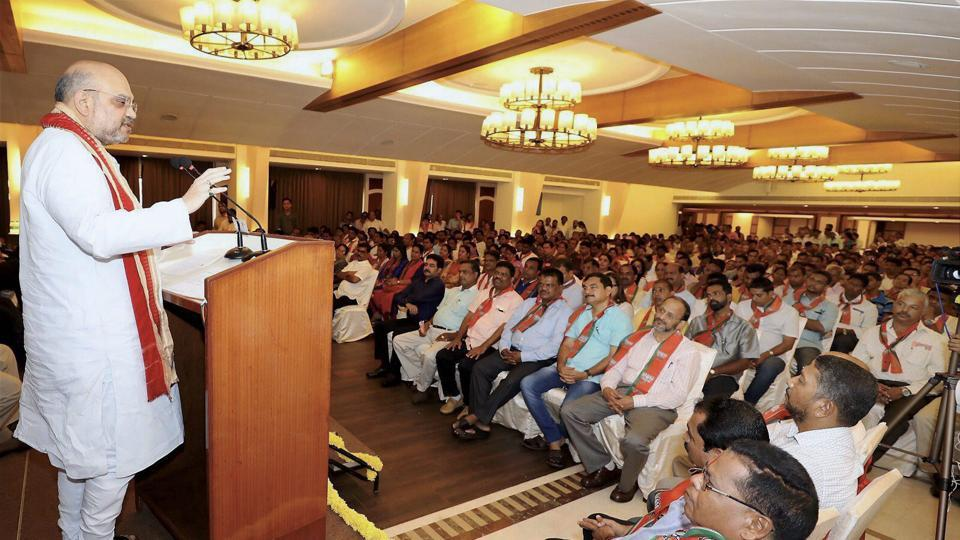 BJP national president Amit Shah addressing meeting of elected representatives of local bodies in Goa on Saturday.