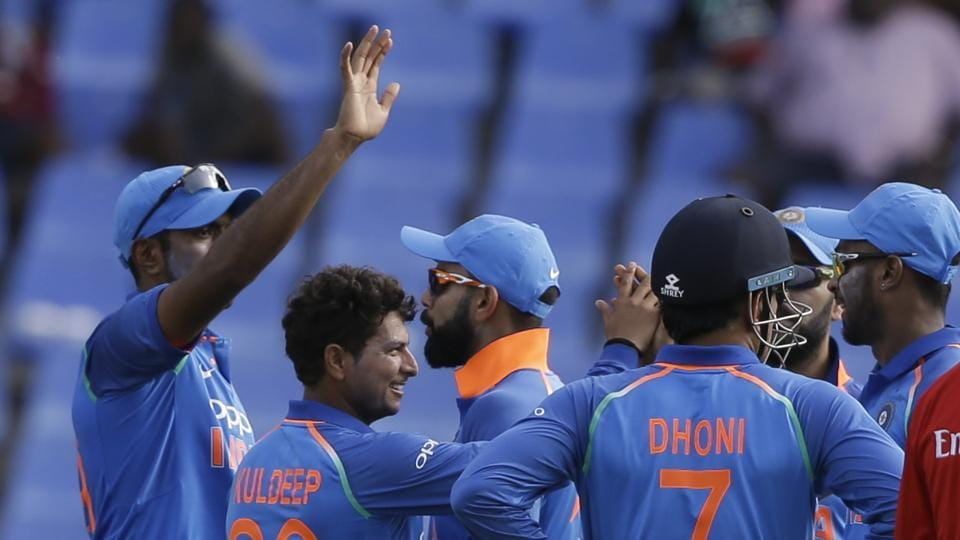 Kuldeep Yadav and Ravichandran Ashwin picked up three wickets each as India beat West Indies by 93 runs to take 2-0 lead in series. Get highlights of India vs West Indies 3rd ODI here.