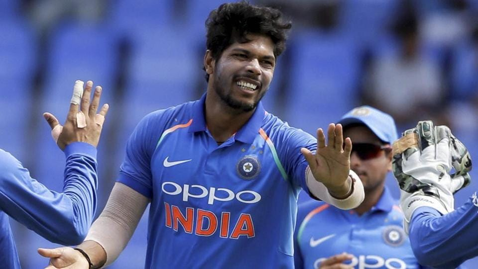 While defending the total, Umesh Yadav gave India the first breakthrough by dismissing Evin Lewis. (AP)