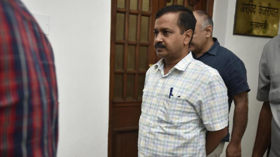 Delhi CM Arvind Kejriwal at the Delhi Assembly. A legislative committee on Friday recommended the removal of PWD secretary over irregularities in desilting of drains, pending inquiry.