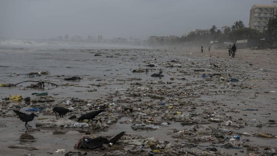 Heavy downpour in Mumbai washed ashore 120 tonnes of trash on to Juhu beach on June 27.
