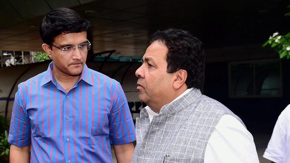 Sourav Ganguly and Rajeev Shukla after attending the BCCI Special General Meeting (SGM).