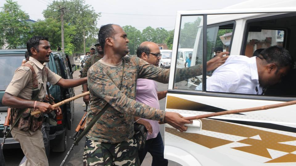Police detain local leaders after communal tension erupted at Manuwa village following the lynching of Alimuddin by a mob allegedly for carrying beef in his van on Thursday.