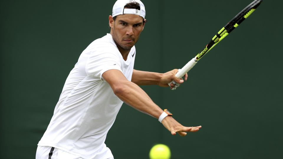 Spain's Rafael Nadal on the practice courts during a preview day at the The All England Lawn Tennis and Croquet Club, London, on Saturday.