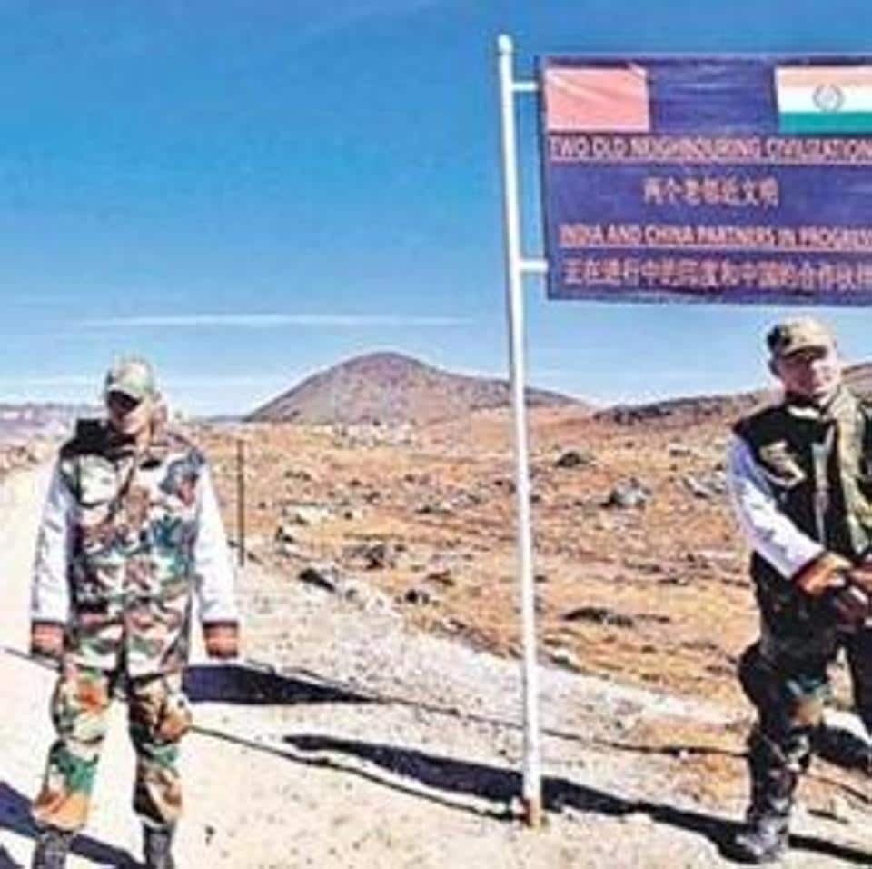 Army personnel keep a vigil at the Bumla pass along the India China border in Arunachal Pradesh.