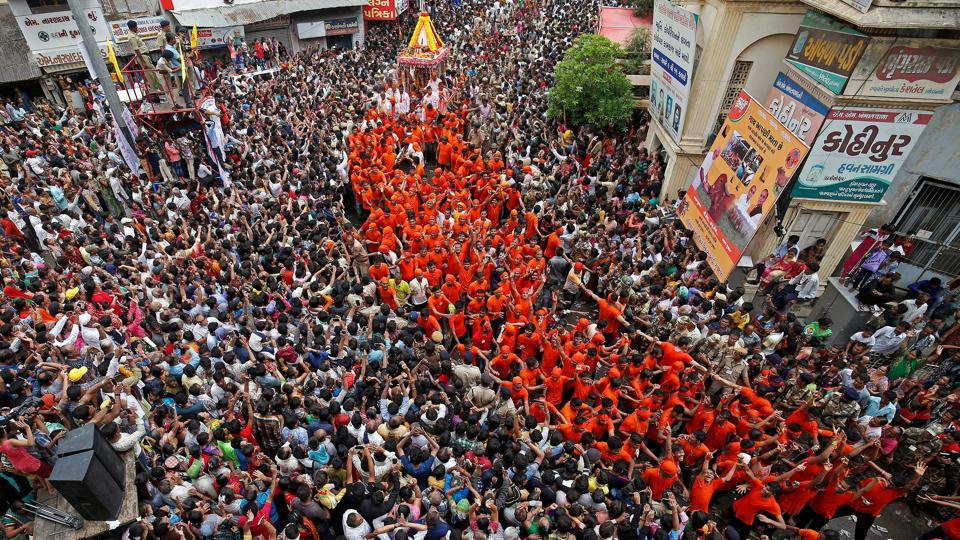 Hindu devotees pull the 'Rath' or the chariot of Lord Jagannath, during the annual Rath Yatra, or chariot procession, in Ahmedabad, Gujarat. (Amit Dave / Reuters)